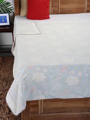 White-Multicolored Hand Block-printed Reversible Cotton Single Dohar (93in x 59in)