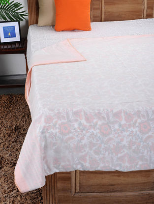 White-Multicolored Hand Block-printed Reversible Cotton Single Dohar (92in x 64in)