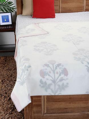 White-Multicolored Hand Block-printed Reversible Cotton Single Dohar (90in x 62in)