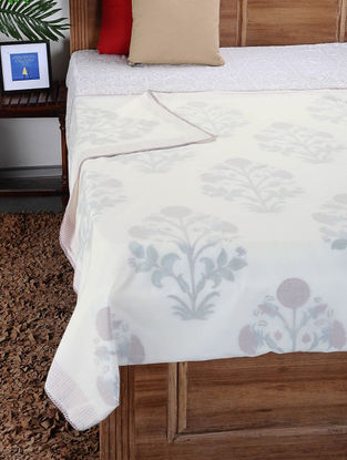 Multicolored Hand Block-printed Reversible Cotton Doubel Dohar (110in x 85in)