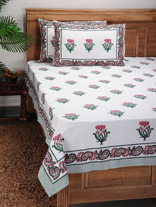 Red-Green Block-printed Cotton Bed Cover with Pillow Covers (Set of 3)