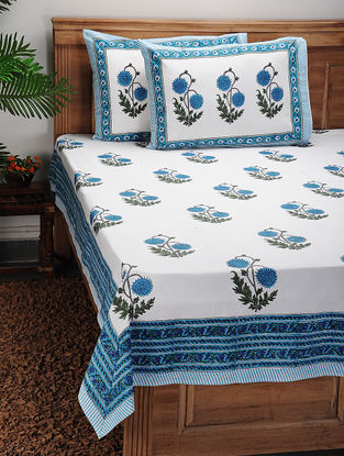 Blue-Green Block-printed Cotton Bed Cover with Pillow Covers (Set of 3)