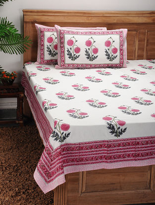 Pink-Green Block-printed Cotton Bed Cover with Pillow Covers (Set of 3)