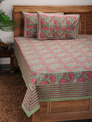 Green-Pink Block-printed Cotton Bed Cover with Pillow Covers (Set of 3)