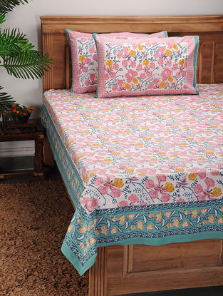 Multicolored Block-printed Cotton Bed Cover with Pillow Covers (Set of 3)