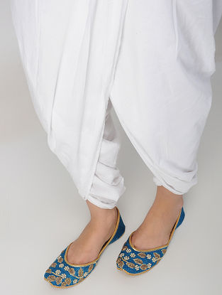 Blue Hand-Embroidered Matka Silk And Leather Juttis With Zardozi Work