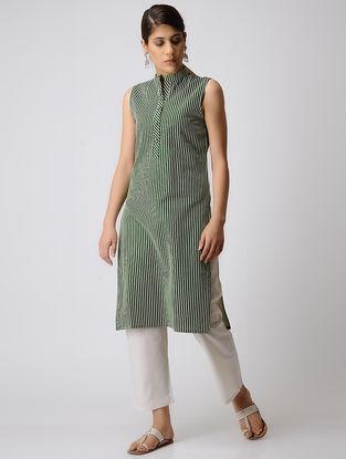 Green Striped Cotton Kurta
