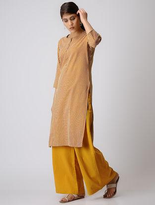 Mustard Striped Cotton Kurta
