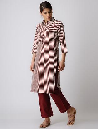 Maroon Striped Cotton Kurta