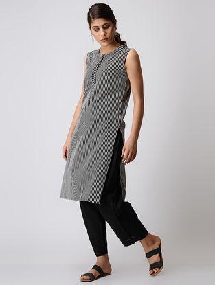 Black Striped Cotton Kurta