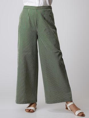 Green Striped Elasticated Waist Cotton Palazzos