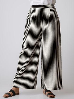 Black Striped Elasticated Waist Cotton Palazzos