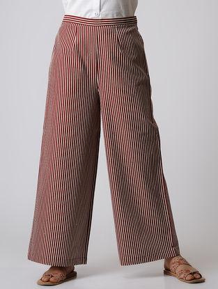 Maroon Striped Elasticated Waist Cotton Palazzos