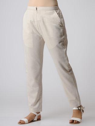 Ivory Cotton Elasticated Waist Pants