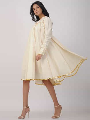 Ivory Hand-woven Cotton Anarkali Dress with Gota Work