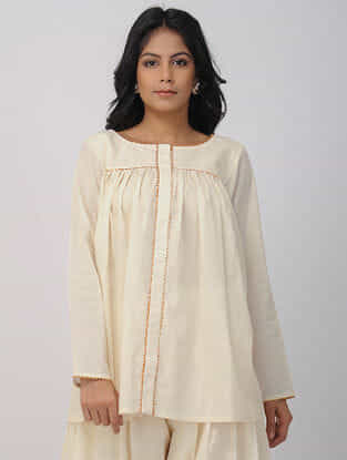Ivory Hand-woven Cotton Shirt with Gota Work
