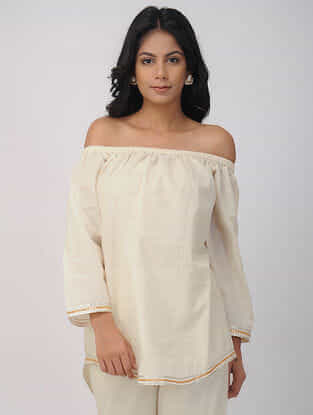 Ivory Hand-woven Cotton Tunic with Gota Work
