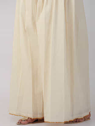 Ivory Hand-woven Cotton Palazzos with Gota Work