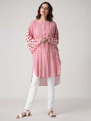 Red-Ivory Checkered Rayon Cotton Kurta