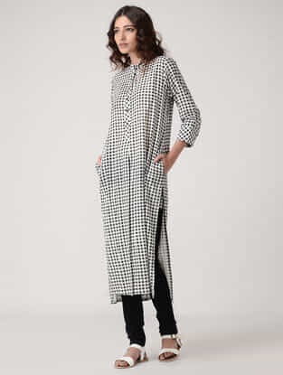 Black-Ivory Checkered Rayon Cotton Kurta