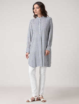 Blue-Ivory Checkered Rayon Cotton Kurta