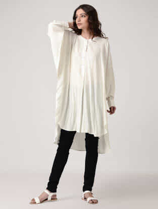 White Rayon Cotton Kurta