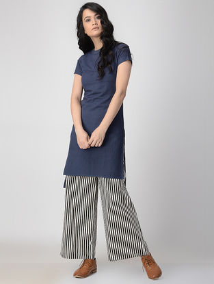 Blue Hand-Dyed Flax Kurta with Back Slit