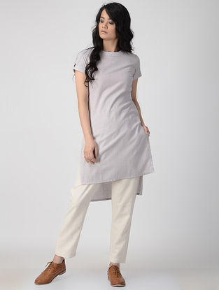 Grey Hand-Dyed Flax Kurta with Back Slit
