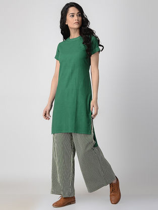 Green Hand-Dyed Flax Kurta with Back Slit