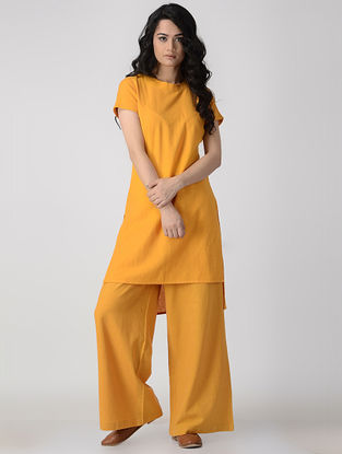 Mustard Hand-Dyed Flax Kurta with Back Slit