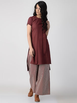 Maroon Hand-Dyed Flax Kurta with Back Slit