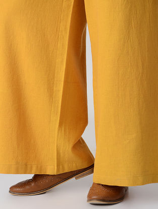 Mustard Elasticated Waist Flax Cotton Palazzos