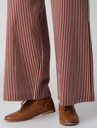 Maroon Striped Elasticated Waist Flax Cotton Palazzos