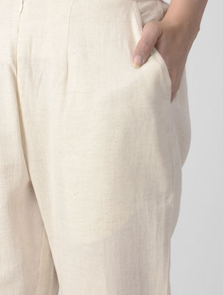 Ivory Elasticated Waist Flax Cotton Pants