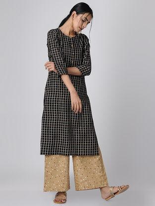 Black Checkered Mul Cotton Kurta
