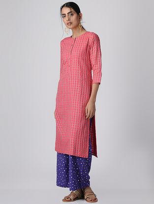Pink Checkered Mul Cotton Kurta