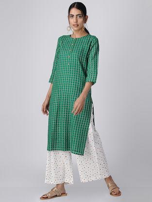 Green Checkered Mul Cotton Kurta