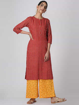 Red Checkered Mul Cotton Kurta