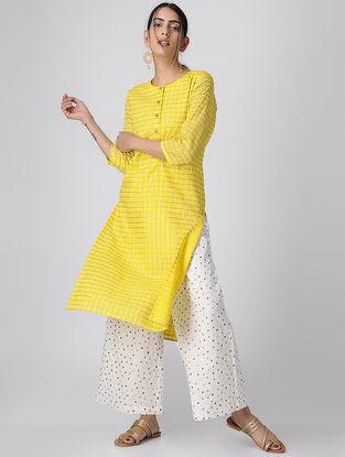 Yellow Checkered Mul Cotton Kurta