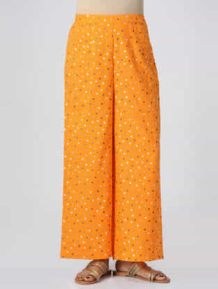 Yellow Polka Dot-printed Elasticated Waist Mul Cotton Palazzos