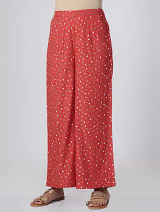 Red Polka Dot-printed Elasticated Waist Mul Cotton Palazzos