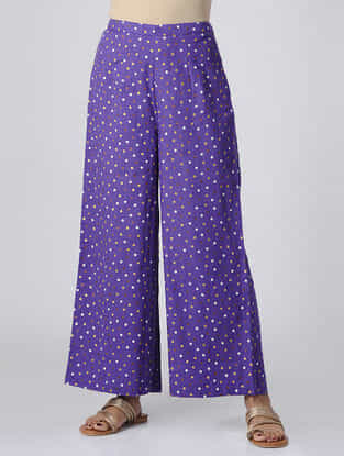 Purple Polka Dot-printed Elasticated Waist Mul Cotton Palazzos
