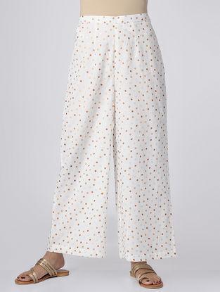 White Polka Dot-printed Elasticated Waist Mul Cotton Palazzos
