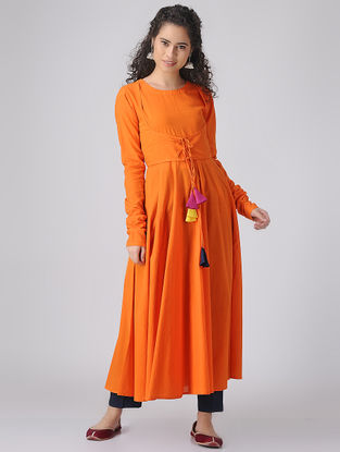 Orange Dyed Cotton Anarkali Kurta with Churidar Sleeves