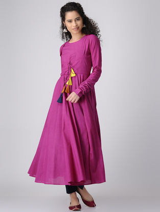 Pink Dyed Cotton Anarkali Kurta with Churidar Sleeves