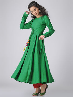 Green Dyed Cotton Anarkali Kurta with Churidar Sleeves