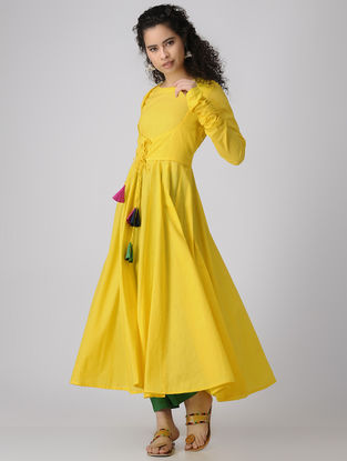 Yellow Dyed Cotton Anarkali Kurta with Churidar Sleeves