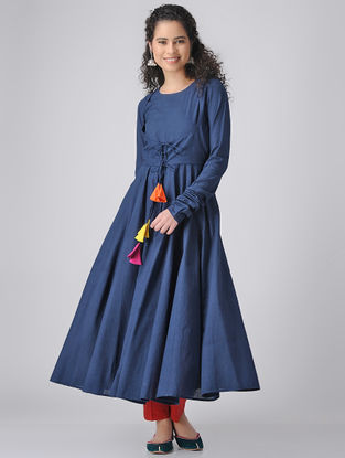 Blue Dyed Cotton Anarkali Kurta with Churidar Sleeves
