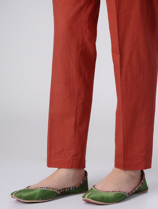 Red Dyed Elasticated Waist Cotton Pants