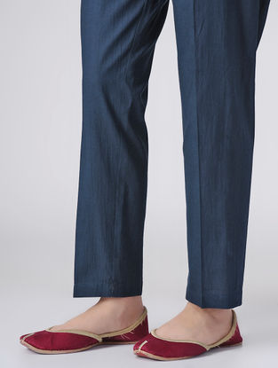 Blue Dyed Elasticated Waist Cotton Pants